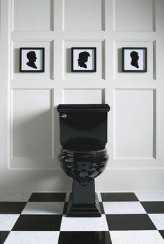 Black toilet and classic silhouettes.