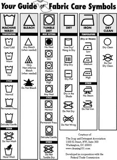 Guide to Fabric Care Symbols by The Soap and Detergent Association: For those of us who are forever squinting at the tiny print on the labels sewn into the seams of clothing. #Fabric_Care #Symbols #Soap_and Detergent_Association
