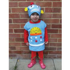 blue handmade cookie robot costume for baby toddler by GuuGuuGa