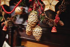 Cedar Lodge Book Page Pine Cone #Ornaments #holiday #decorations