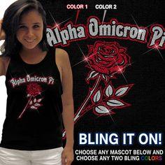 Sorority Bling Mascot Tank $24.95 #sorority #clothing #custom #greek #apparel #AOII pi cloth, omicron pi, cloth custom, alpha omicron, soror bling, greek apparel, soror cloth, greek merchandis, custom greek