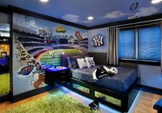 Blue Sport Theme With Black Hanging Storage And White Pillow Also Grey Curtain