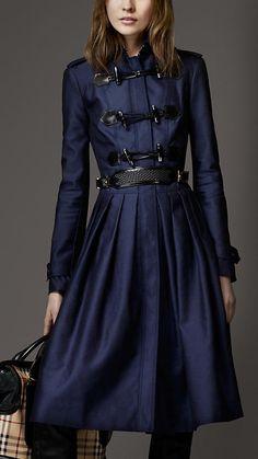 jacket, full skirts, woman fashion, burberry, burberri, duffl coat, dress, trench coats, blues