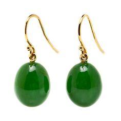 Gump's Green Nephrite Jade Drop Earrings