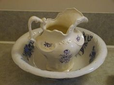 Antique Wash Bowl & Replica Pitcher