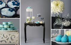 blue wedding dessert table