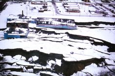 Alaska Earthquake March 27, 1964. Subsidence of the graben at the head of the Government Hill landslide in Anchorage tore apart an elementar...
