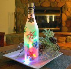 wine bottle light, snowflakes, Christmas decoration. $23.00, via Etsy.