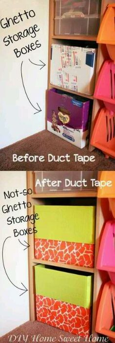 .Creative Duct Tape ideas for storage boxes