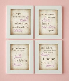 Word Art - Dance Quote - I Hope You Dance - Girl's Room - Set of 4 Prints on Etsy, $35.00