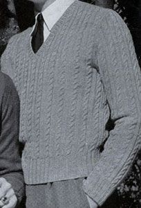 Cable Stitch Pullover knit pattern from Sweaters for Men & Boys, originally published by Jack Frost, Volume No. 40, from 1947.