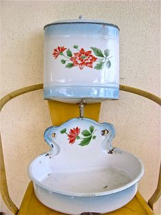 Old country vintage French blue enamel lavabo by sweetbrocante. No reason why a small tankless heater shouldn't be decorated to look like a lavabo, is there now? I'd love a basin this shape!