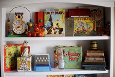 nursery decor... antique toys and children's books/games Someday, this will be my nursery decor. Love, love, love...