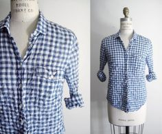 """j.crew blue gingham """"the perfect shirt"""""""