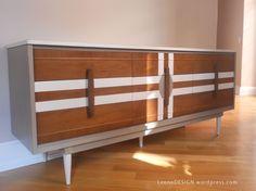 Mid Century Credenza Dresser painted