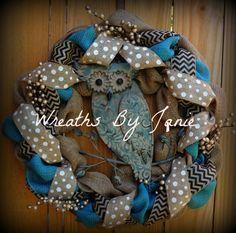 Owl Wreath  Rustic Burlap Wreath   Chevron by WreathsByJanie, $75.00