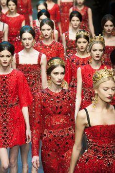 milan, fashion weeks, catwalk, red, autumn fall, runway, fall 2013, dolc, gabbana fall