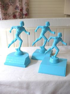 Three Upcycled Turquoise Blue Vintage Trophies.