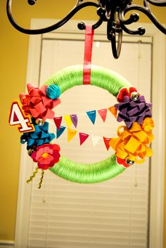 Felt and Yarn Birthday Wreath by The Willow Bee - Somewhat Simple