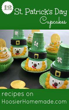 12 St. Patricks Day Cupcakes :: Recipes on HoosierHomemade.com