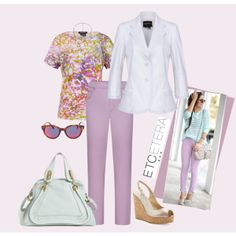 #RadiantOrchid: MAIDEN white jacket, ARIZONA flowered top, DAPHNEY orchid pant   Etcetera Spring Collection