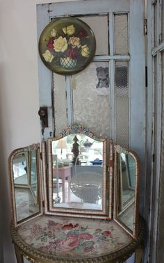 Mirror is very similar to one I have. I love it.  Time Worn Styles showroom ~ french door screen to hide fuse box