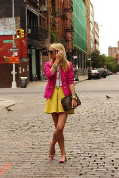 Pretty pink, happy yellow, fun look.