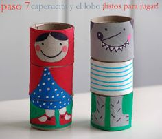 Little Red Riding Hood and wolf TP rolls  toilet paper tubes Little Red Riding Hood lalibelula: PERSONAJES INTERCAMBIABLES HECHOS CON ROLLOS DE PAPEL HIGIENICO