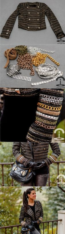 DIY Embellished tweed jacket - chains - studds - Crimenes de la Moda - chaqueta tweed customizada con cadenas y tachuelas