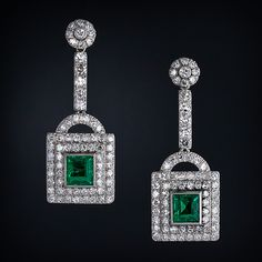 Art Deco Emerald and Diamond Earrings