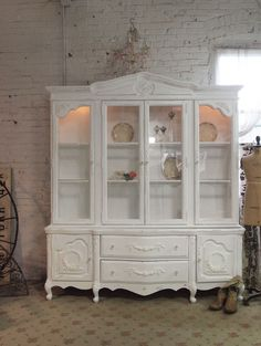 Painted Cottage Chic Shabby White Romantic French China Cabinet [CC49] - $895.00 : The Painted Cottage, Vintage Painted Furniture
