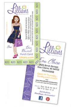 Lillians : Diva Rewards Punch Card Get YOURS! For every twenty dollars spent, you receive one punch. Fill the card with 15 punches & receive thirty dollars in FREE merchandise!