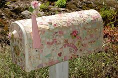 garden tools, mosaics, gardening tools, vegetables garden, pink, mosaic mailbox, broken china, mail boxes, dream cottage