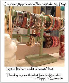 Customized Two Tier Bracelet Holder Jewelry Organizer Craft Show Display - Jewelry Storage Watch Bracelet Display Stand Headband Holder. $30.00, via Etsy. Have dad make me one!