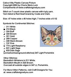 Calico Kitty Instructions Plastic Canvas