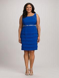 Plus Size Tiered Belted Sheath Dress | Dressbarn