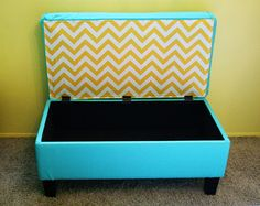 Reupholstered storage ottoman.