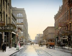 """Colorized Photos  ::    Hiawatha Temple: 1908  (St. Paul, Minnesota, circa 1908. """"Wabasha Street."""" The early 20th century was a golden age of signcraft. )"""