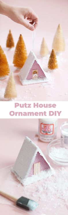 Easy Putz house ornament DIY #putzhouse #putz #ornaments