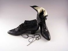 Victorian Beaded Black Leather Boots by VintagebyViola on Etsy, $180.00