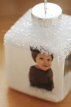 DIY Photo ornaments.  You can use photos of the bride and groom