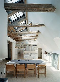 Love the exposed wood and skylight/windows in this converted barn!