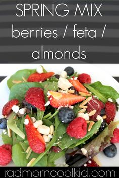 Spring Mix with Berries, Feta and Toasted Almonds from Rad Mom Cool Kid | CupcakeDiariesBlog.com