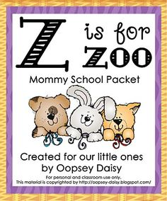 z is for zoo school printables
