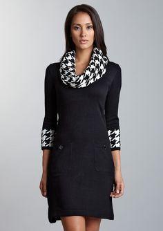 Houndstooth Edge Sweater Dress