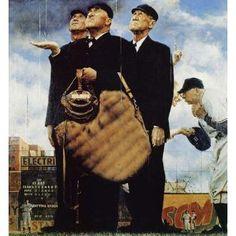 l games, game call, basebal art, fans, hall of fame, norman rockwell baseball, basebal fan, baseball art, rain