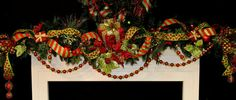 Christmas BlinG Mantel Garland prelit with prelit decorator gift box all in the season's hottest colors Red & Lime OVER THE TOP STUNNING one-of-a-kind design by Cabin Cove Creations ....CUSTOM ORDERS WELCOME  ...If sold please visit Cabin Cove Creations store at Etsy to view all my other unique designs …click… http://www.etsy.com/shop/cabincovecreations?ref=si_shop christma wreath, mantel garland, christma decor, christma idea, mantel decor, christma swag, christma mantel