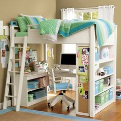 Great idea for either boy's or girls room - storage, desk area, storage and a bed... what a way to utilize a small room.  Use book shelves, ladder, and build the top bunk - add bedding - done