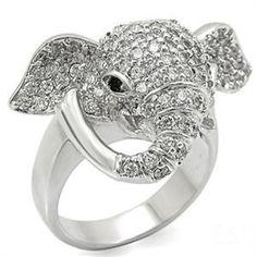 Silver Tone Austrian Crystal Elephant Ring SZ 7