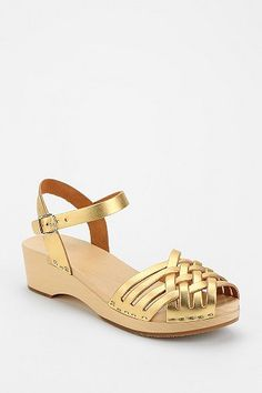 gold & wood sandals